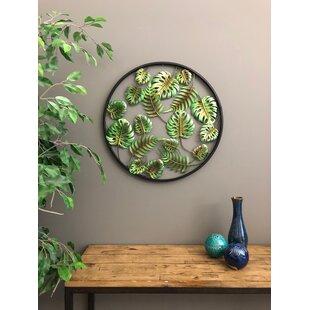 Metal Circle 3 Dimensional Palm Leaves Tropical Wall Décor