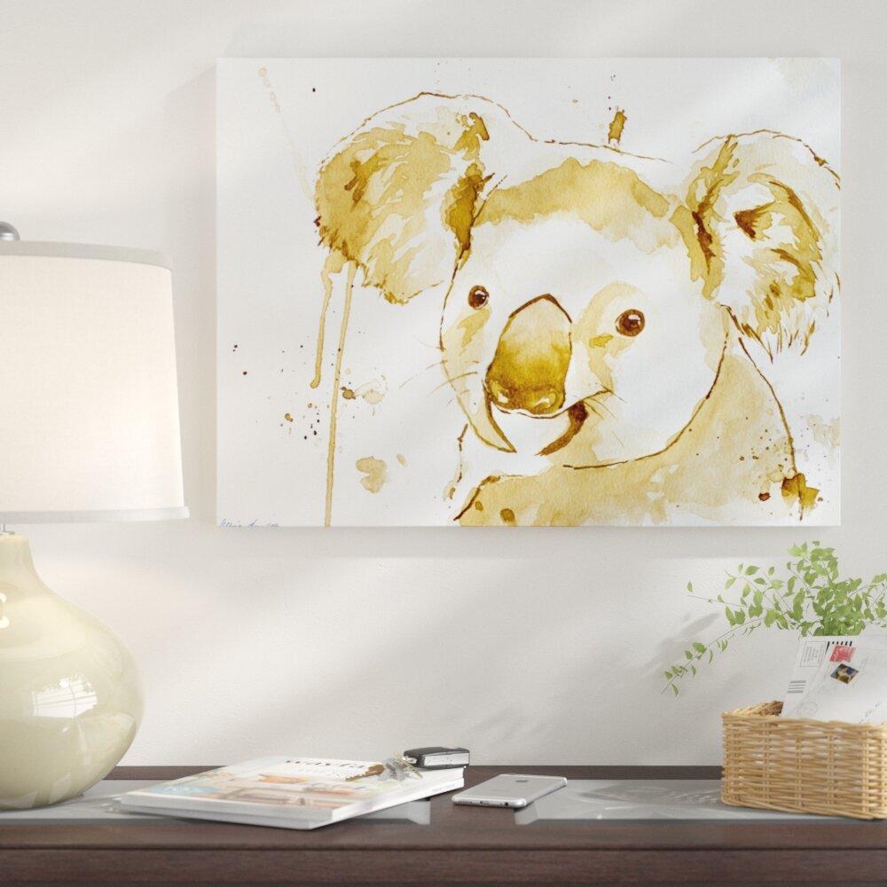 East Urban Home Coffee Koala Bear Graphic Art Print On Wrapped