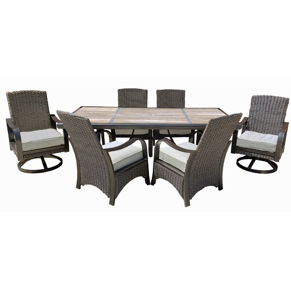 Destiney 7 Piece Dining Set with Cushions by Longshore Tides