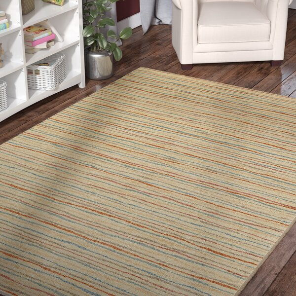 Paulette Colored Lines Beige Area Rug by Harriet Bee