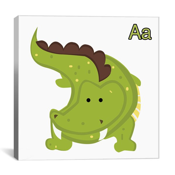A is for Alligator Graphic Canvas Wall Art by Zoomie Kids