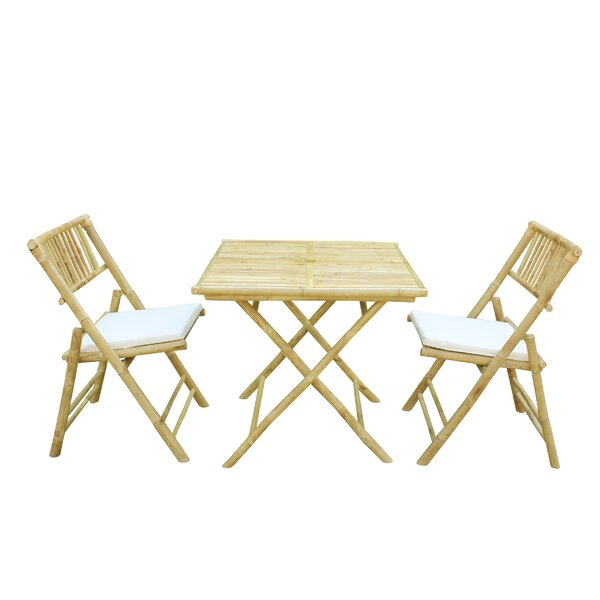 Corning Bamboo Outdoor 3 Piece Bistro Set with Cushions by Bay Isle Home