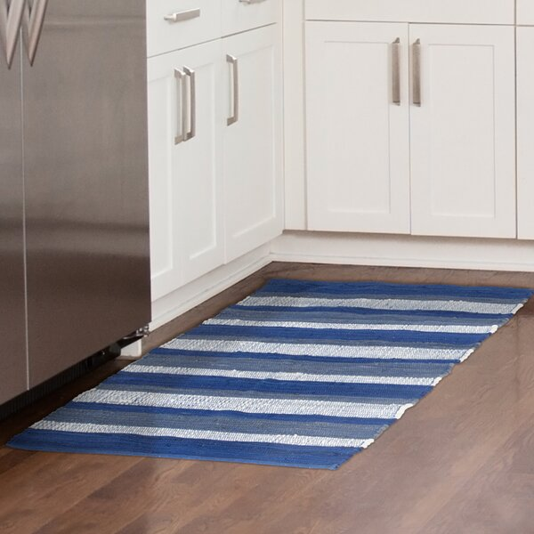 Sandeep Stripe Accent Hand-Woven Navy Blue Area Rug by Highland Dunes