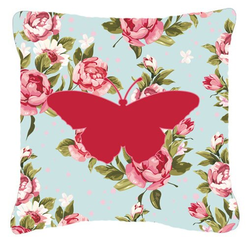 Butterfly Shabby Elegance Blue Roses ModernSquare Fabric Indoor/Outdoor Throw Pillow
