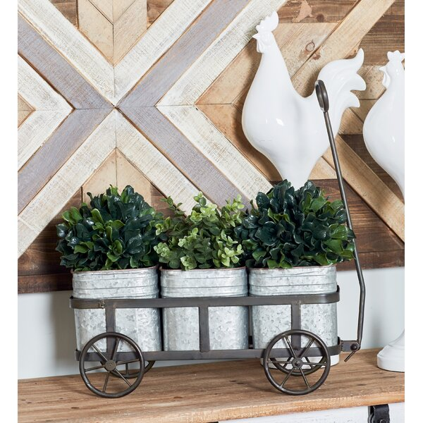 Farmhouse 3-Pot Vintage Wagon Wheelbarrow Planter by Cole & Grey