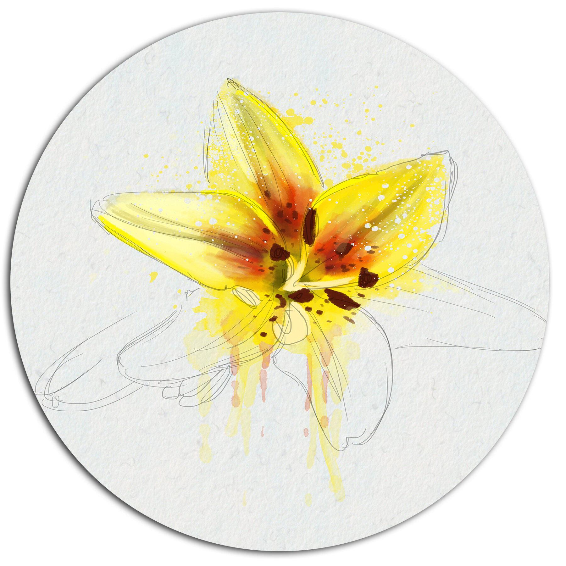 Designart wonderful yellow lily flower sketch oil painting print designart wonderful yellow lily flower sketch oil painting print on metal wayfair izmirmasajfo