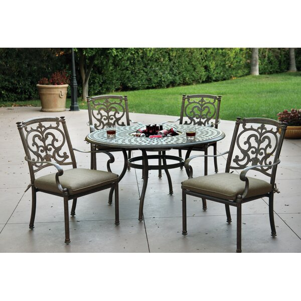 Palazzo Sasso Traditional 5 Piece Dining Set with Cushions by Astoria Grand