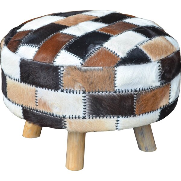 Everglade Leather Ottoman by Millwood Pines