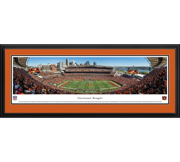 NFL Cincinnati Bengals - 50 Yard Line by Christopher Gjevre Framed Photographic Print by Blakeway Worldwide Panoramas, Inc