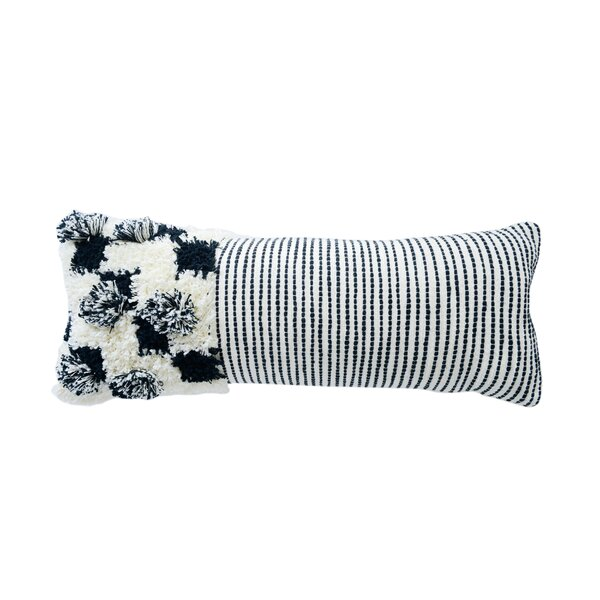 Covert Cotton Lumbar Pillow with Fringe by Bungalow Rose