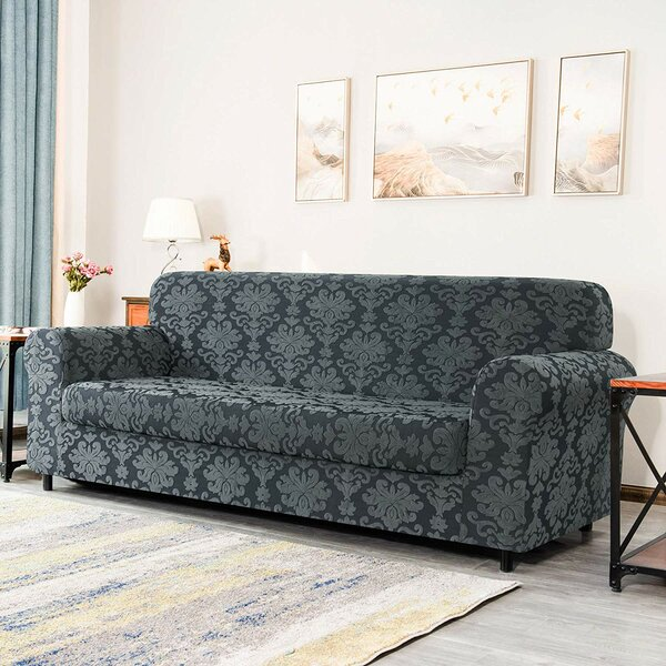 Elegant Box Cushion Sofa Slipcover By Winston Porter