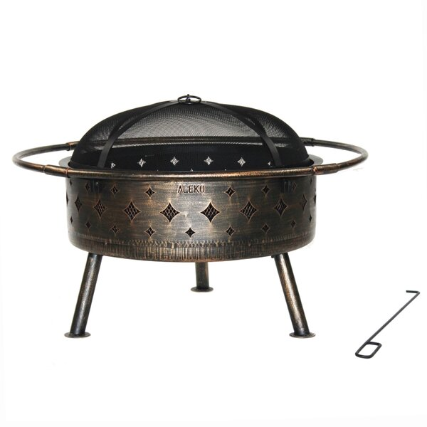Laser Cut Diamond Steel Wood Burning Fire Pit by ALEKO
