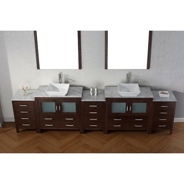 Cartagena 125 Double Bathroom Vanity Set with White Marble Top and Mirror by Mercury Row