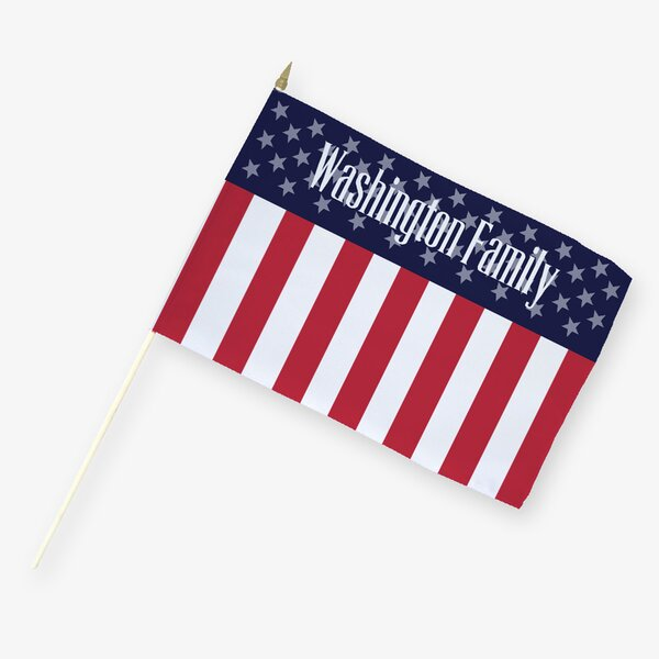 Personalized Patriotic Family 2-Sided Flag with Stick by Monogramonline Inc.