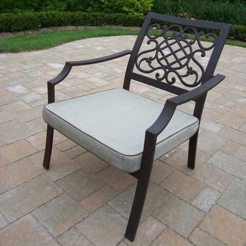 Stone Art Stacking Patio Dining Chair with Cushion (Set of 4) by Oakland Living