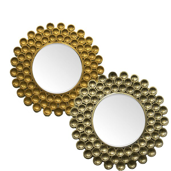 Brocado 2 Piece Metal Wall Mounted Mirror Set by Bloomsbury Market