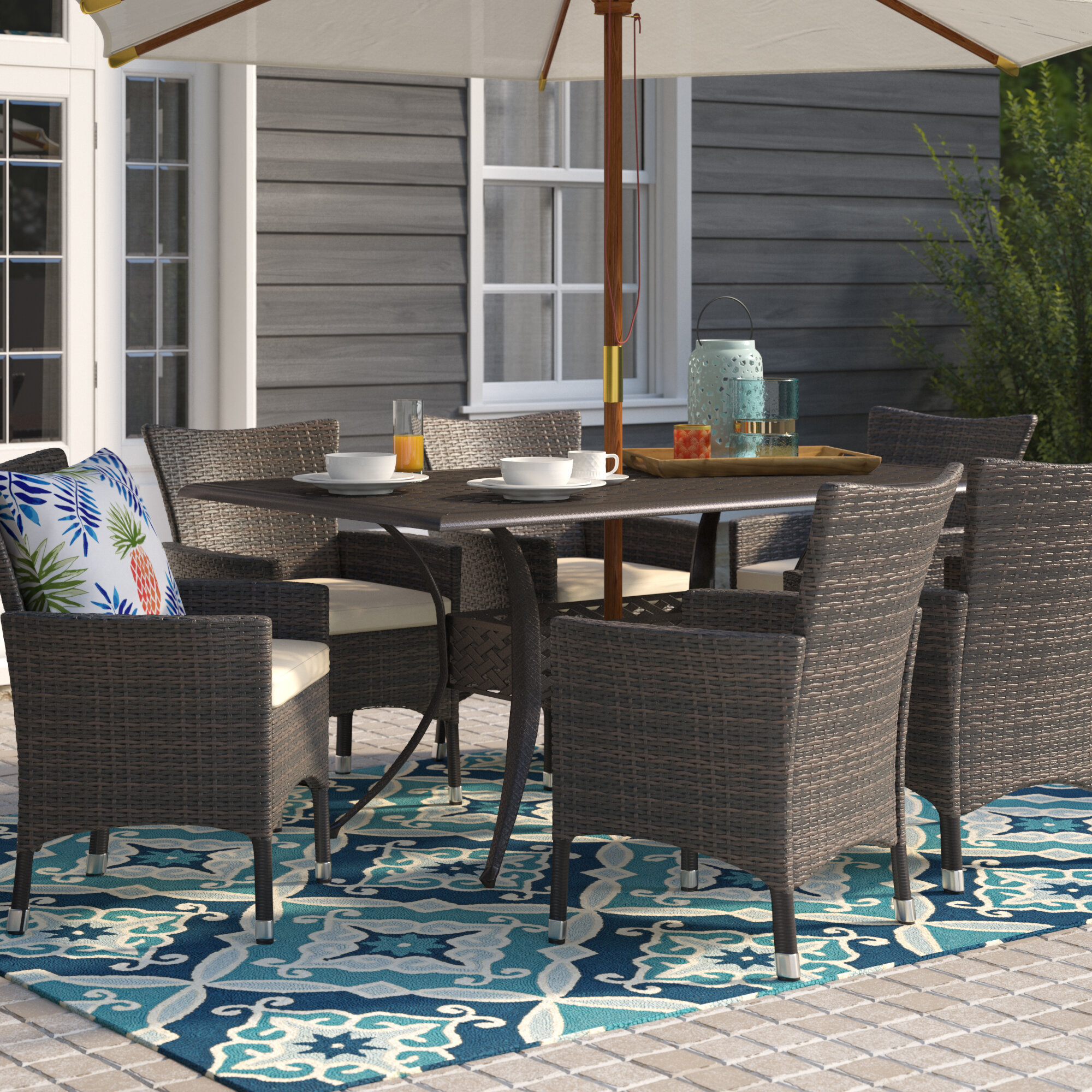 Beachcrest Home Tellara Outdoor 7 Piece Dining Set With Cushions U0026 Reviews  | Wayfair