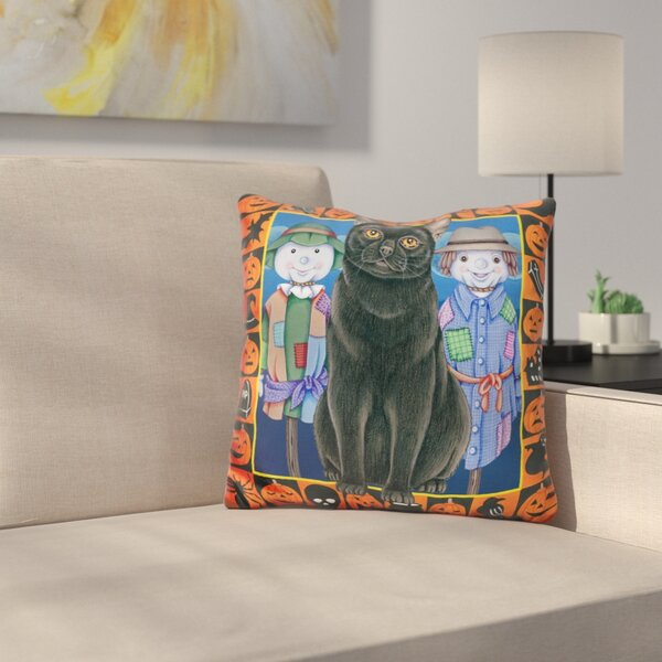 Halloween Cat Throw Pillow by East Urban Home