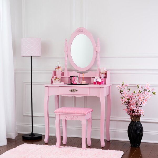 Winfred Wooden Vanity Set with Mirror by House of Hampton