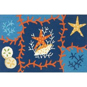 Dalvey Ocean Coral Blue/Orange Indoor/Outdoor Area Rug