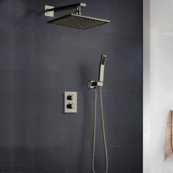 Sagua Wall Mount LED Volume Control Complete Shower System With Rough-in Valve By FontanaShowers