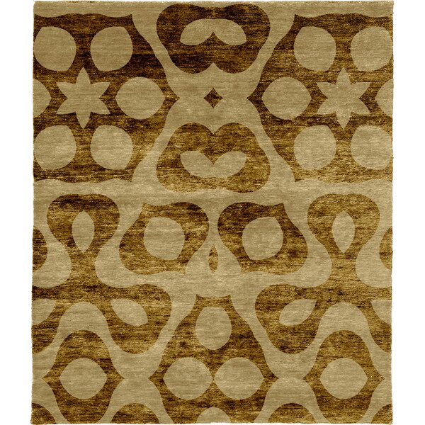 One-of-a-Kind Torin Hand-Knotted Beige/Dark Gold 8' x 10' Wool Area Rug
