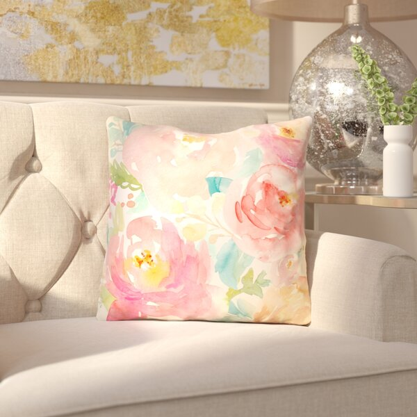 Lafon Peonies Outdoor Throw Pillow by House of Hampton