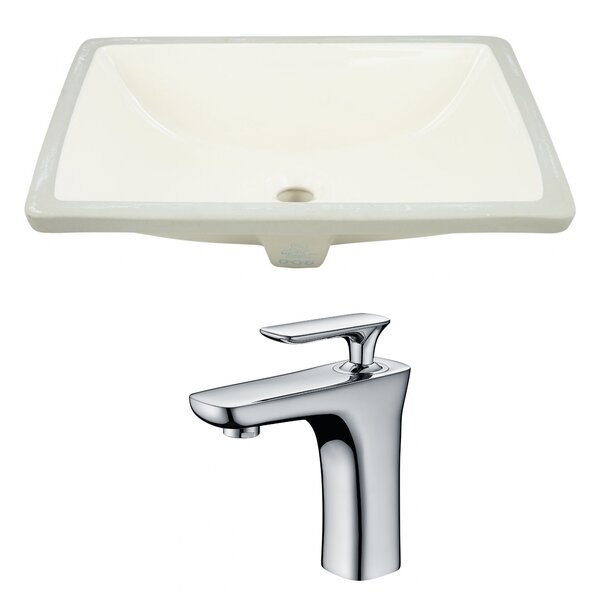 Ceramic Rectangular Undermount Bathroom Sink with Faucet and Overflow by American Imaginations