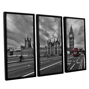 Double Decker London 3 Piece Framed Photographic Print Set by Brayden Studio