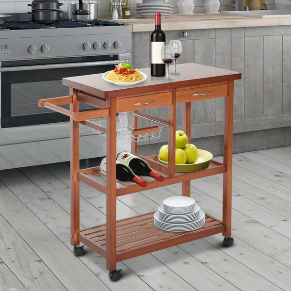 Atlas Wooden Rolling Storage Microwave Kitchen Cart by Winston Porter