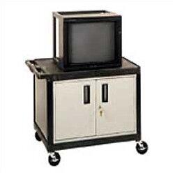 High Open Shelf Endura Video Table AV Cart with Locking Cabinet by Luxor
