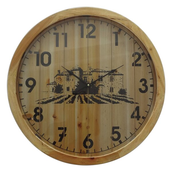 Oversized Imene Wooded 23.75 Wall Clock by Gracie Oaks