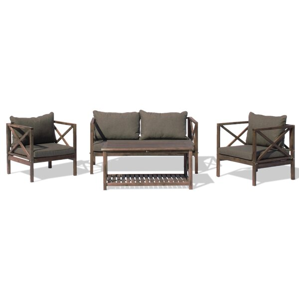 Nemeth Outdoor 4 Piece Sofa Seating Group with Cushions by Gracie Oaks