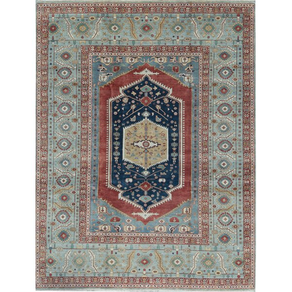 Bakshahesh Oriental Hand-Knotted Wool Light Blue Area Rug