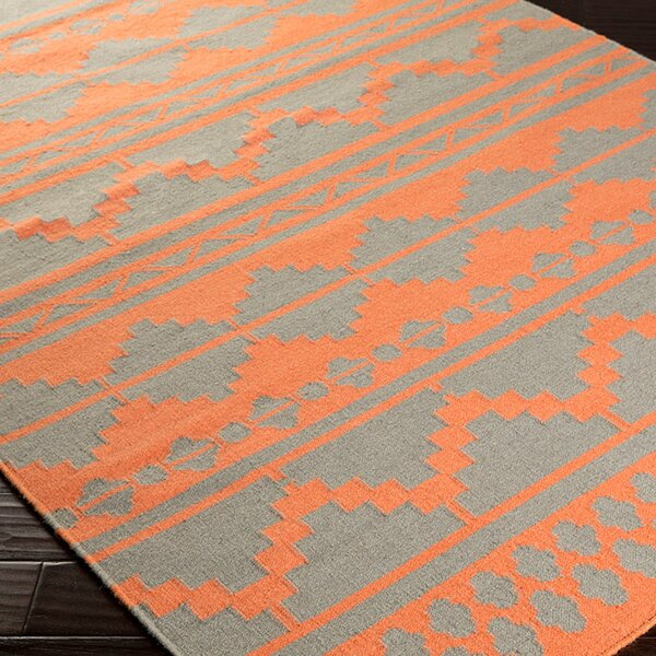 Charleville Flat Woven Wool Coral/Gray Area Rug by Loon Peak