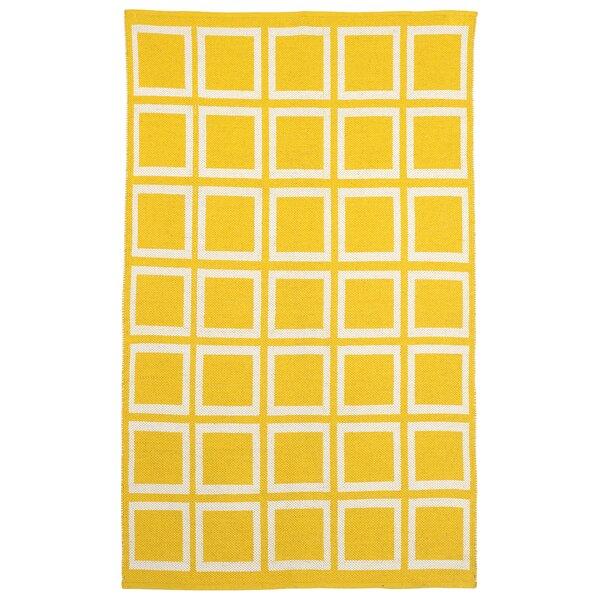 Zen Hand-Woven Cotton Yellow/White Area Rug by Fab Habitat