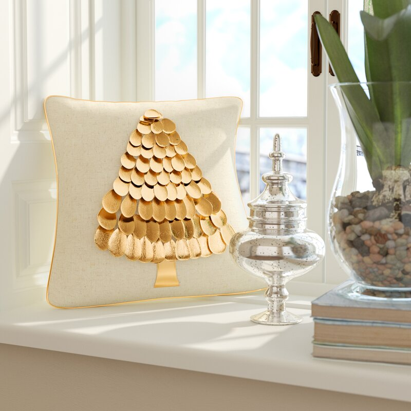 Shiny gold tree pillow