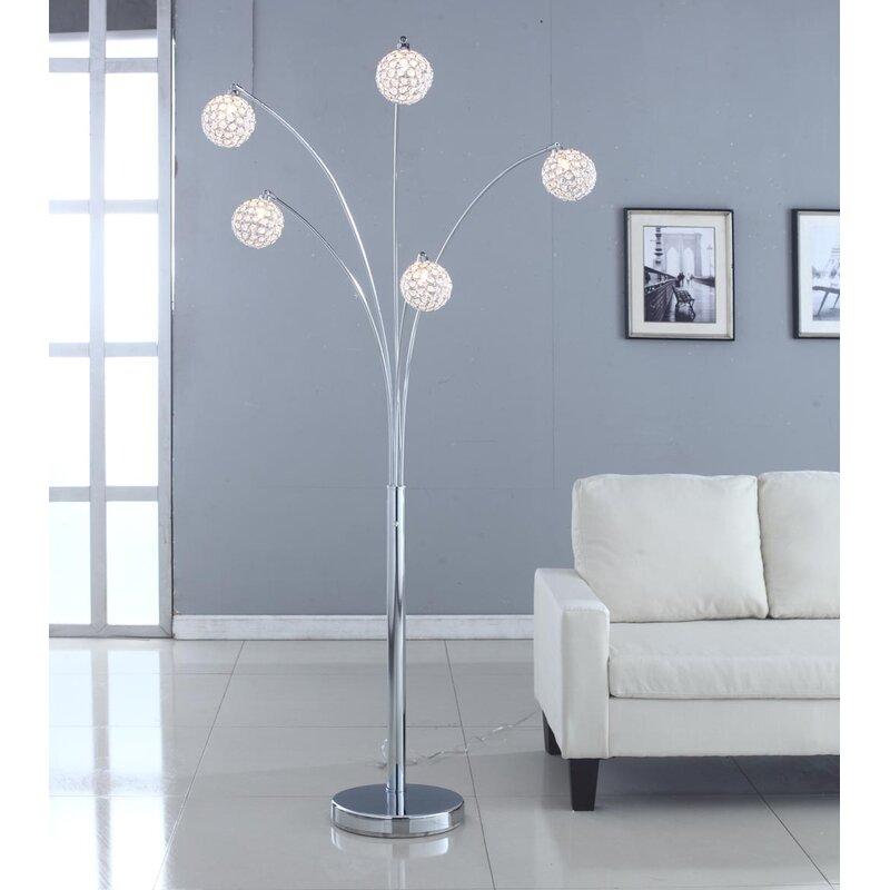 "Everly Quinn Quan Crystal 84"" Tree Floor Lamp & Reviews"