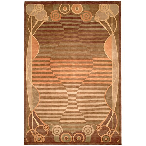 Kneiske Tibetan Hand Knotted Wool Brown/Pink Area Rug by Latitude Run