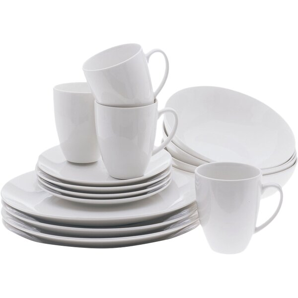 White Basics Coupe 16 Piece Dinnerware Set, Service for 4 by Maxwell & Williams