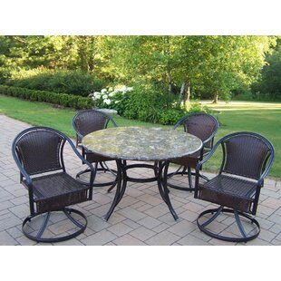 Stone Art 5 Piece Tuscany Swivel Dining Set By Oakland Living