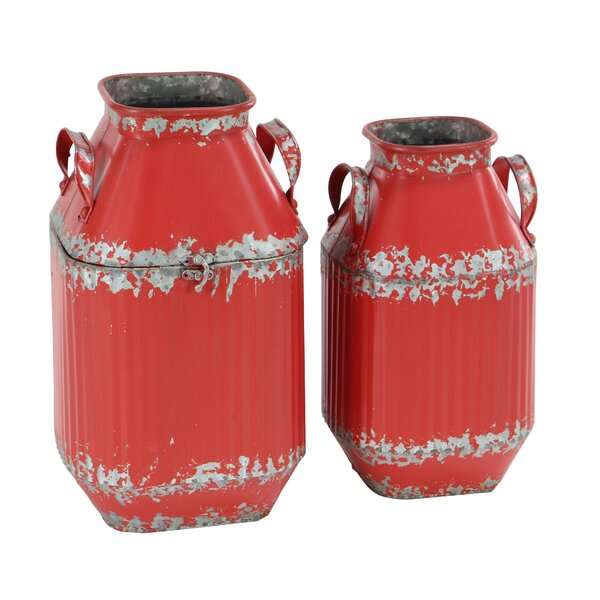 Brigantine Farmhouse Tapered 2 Piece Milk Can Set by Gracie Oaks