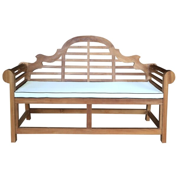 Passarelli Teak Garden Bench with Cushion by Bloomsbury Market Bloomsbury Market