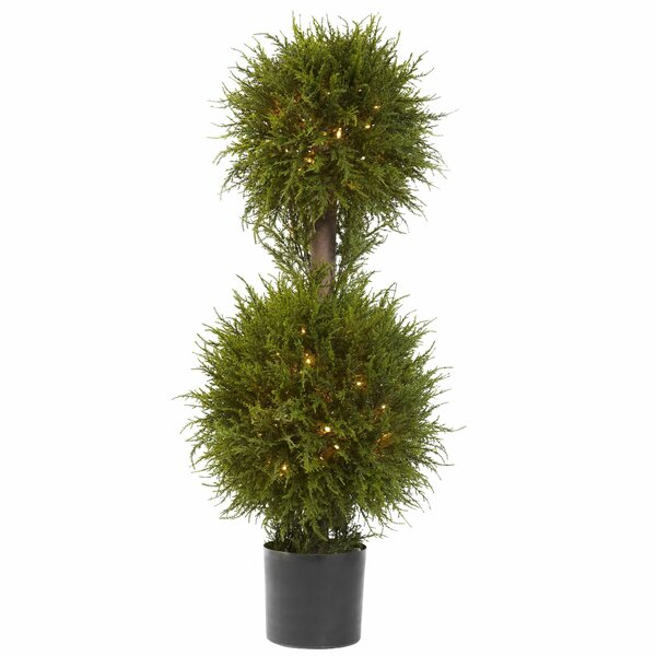 Cedar Double Ball Topiary with Light in Planter by Darby Home Co