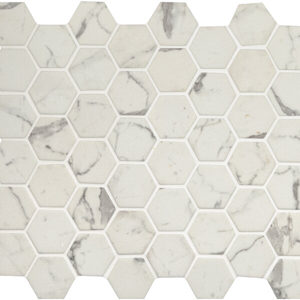 Statuario Celano 2 x 2 Glass Mosaic Tile in White by MSI