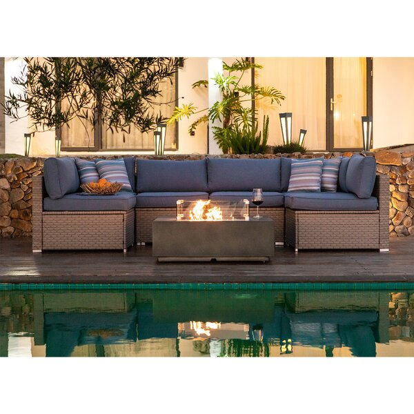 Evelyn 9 Piece Wicker/Rattan Sectional Seating Group with Cushions by Bayou Breeze