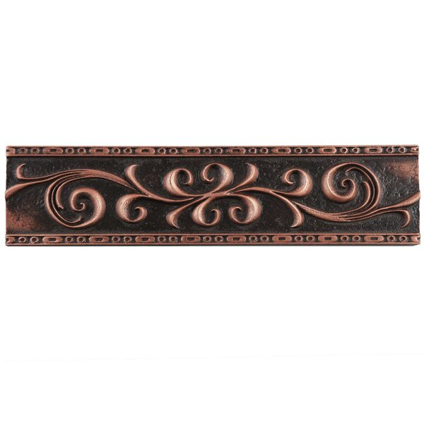 Milton 3 x 12 Resin Liner Tile in Scroll Venetian Bronze (Set of 5) by EliteTile
