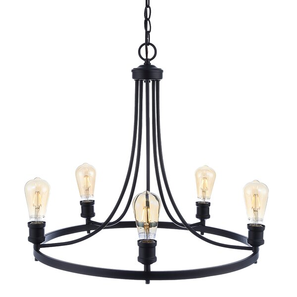 Christofer 5 - Light Shaded Wagon Wheel Chandelier By 17 Stories