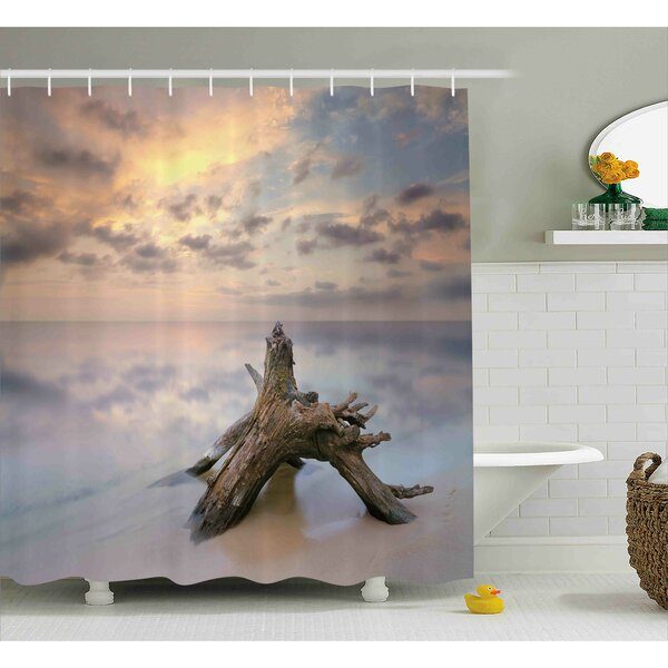 Cara Sunrise on The Water and Driftwood on The Sandy Beach Digital Image Shower Curtain by Ebern Designs