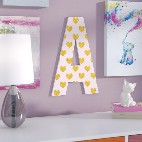 Heilig Pink with Gold Hearts Oversized Hanging Initials by Viv + Rae